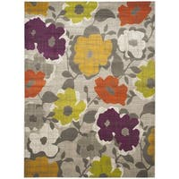 "Safavieh Porcello Contemporary Floral Grey/ Yellow Rug - 8'2"" x 11'"