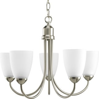 Progress Lighting Gather Collection 5-Light Brushed Nickel Chandelier With Bulb Lighting Fixture