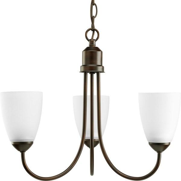Progress Lighting Gather Collection 3-Light Antique Bronze Chandelier Lighting Fixture