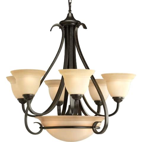 Progress Lighting Torino Collection 6-Light 2-Tier Forged Bronze Chandelier Lighting Fixture