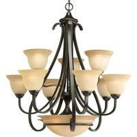 Progress Lighting Torino Collection 9-Light 2-Tier Forged Bronze Chandelier Lighting Fixture