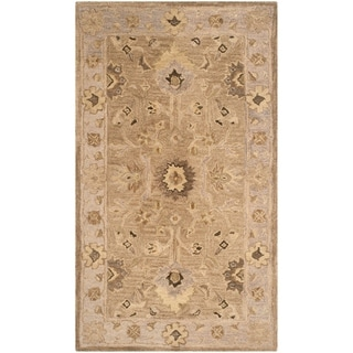 Safavieh Handmade Anatolia Oriental Tan/ Ivory Hand-spun Wool Rug (4' x 6')