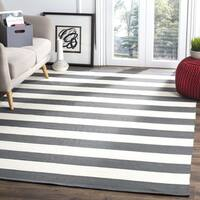 Safavieh Montauk Hand-Woven Flatweave Grey/ Ivory Stripe Cotton Rug - 6' Square