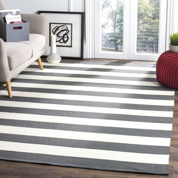 Safavieh Montauk Handmade Caspian Flatweave Grey / Ivory Stripe Cotton Rug - 6' x 6' Square