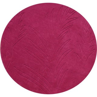 Alliyah Handmade Fuchsia Rose New Zealand Blend Wool Rug (6' Round)