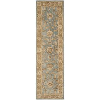 Safavieh Handmade Anatolia Oriental Light Blue/ Taupe Hand-spun Wool Rug (2'3 x 8')