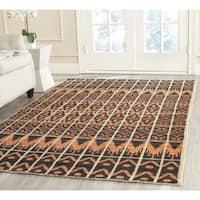Safavieh Hand-knotted Kenya Orange/ Black Wool Rug - 7' Square
