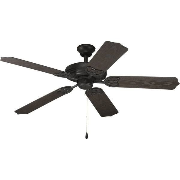 Progress Lighting Airpro 52-inch 5-Blade Forged Black Indoor/Outdoor Ceiling Fan Lighting Fixture