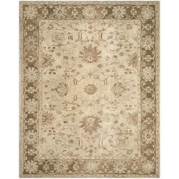 Safavieh Handmade Anatolia Oriental Light Grey/ Dark Brown Hand-spun Wool Rug - 9' x 12'