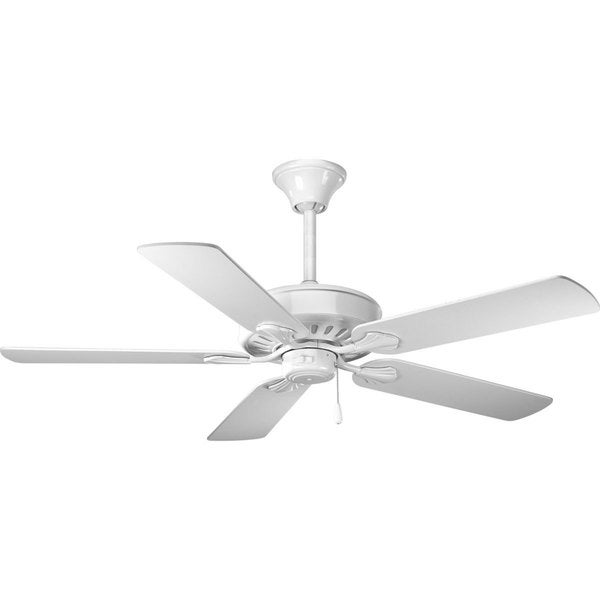 Progress Lighting Airpro Performance 52-inch 5-Blade White Ceiling Fan Lighting Fixture