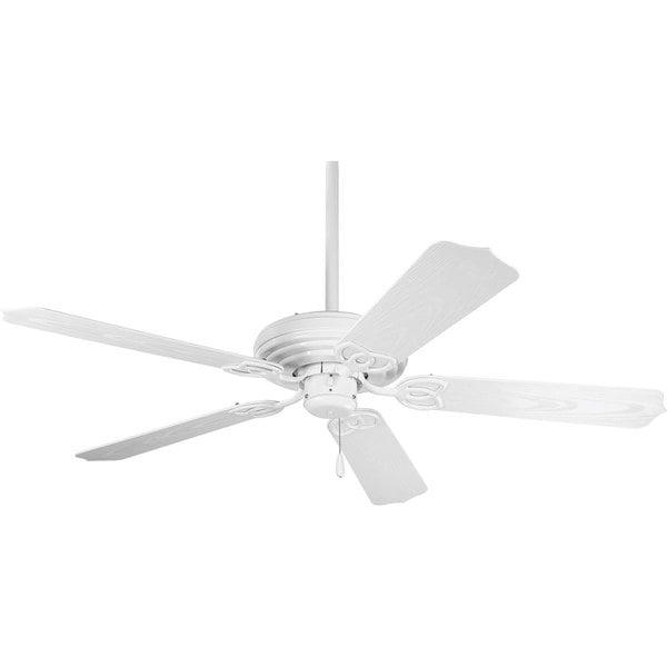 Progress lighting airpro 52 inch 5 blade white indoor outdoor ceiling fan lighting