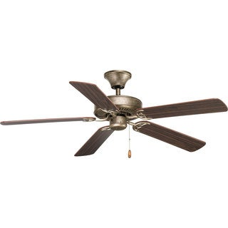 Progress Lighting 52-inch Five-Blade Indoor Ceiling Fan With Reversible Blades And A Triple Capacito Lighting Fixture