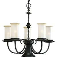 Progress Lighting Santiago Collection 5-Light Forged Black Chandelier With Downlight Lighting Fixture