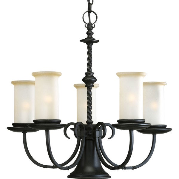 Progress Lighting Santiago Collection 5-Light Forged Black Chandelier With Downlight Lighting Fixture