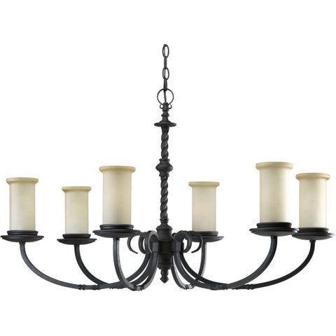Progress Lighting Santiago Collection 6-Light Forged Black Chandelier Lighting Fixture