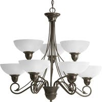 Progress Lighting Pavilion Collection 9-Light 2-Tier Antique Bronze Chandelier Lighting Fixture