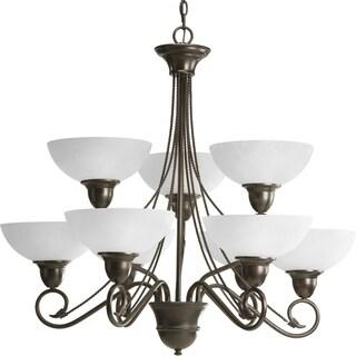 Progress Lighting Pavilion Collection 9-Light 2-Tier Antique Bronze Chandelier Lighting Fixture