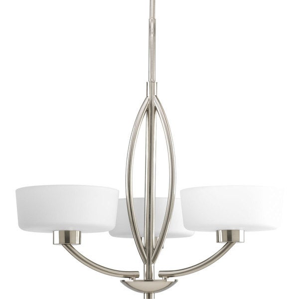 Progress Lighting Calven Collection 3 Light Brushed Nickel Chandelier Fixture