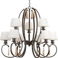 Progress Lighting Club Collection 9-Light 2-Tier Antique Bronze Chandelier Lighting Fixture