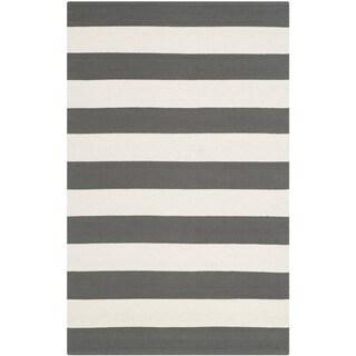 Safavieh Hand-woven Montauk Grey/ Ivory Cotton Rug (2'6 x 4')