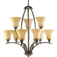 Progress Lighting Joy Collection 9-Light 2-Tier Antique Bronze Chandelier Lighting Fixture