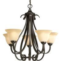 Progress Lighting Torino Collection 5-Light Forged Bronze Chandelier Lighting Fixture
