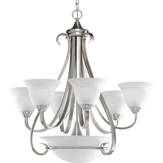 Progress Lighting Torino Collection 6-Light 2-Tier Brushed Nickel Chandelier Lighting Fixture