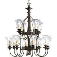 Progress Lighting Fiorentino Collection 12-Light Forged Bronze Chandelier Lighting Fixture