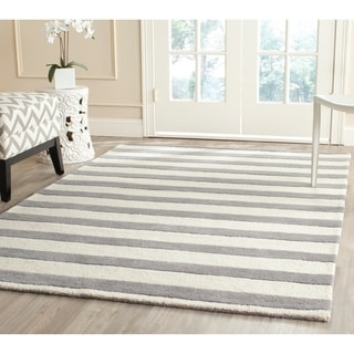 Safavieh Handmade Moroccan Cambridge Grey/ Ivory Wool Rug (5' x 8')