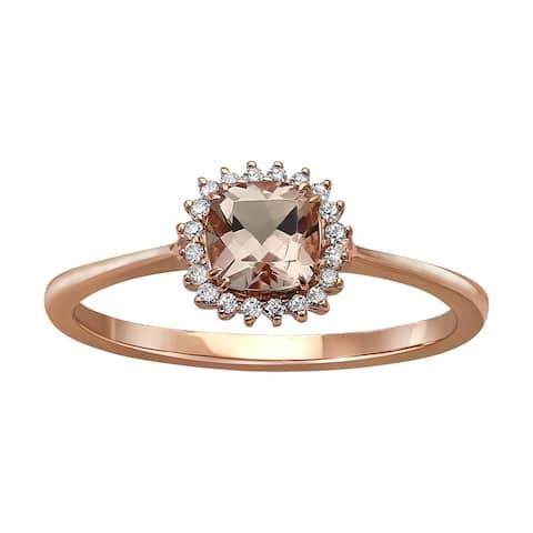 10k Rose Gold Morganite and 1/12ct Diamond Halo Ring (H-I, I2-I3) - Pink