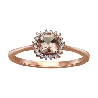 Beverly Hills Charm 10k Rose Gold Morganite and 1/10ct Diamond Halo Ring (H-I, I2-I3)