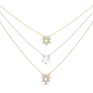 Tri-color Sterling Silver Cubic Zirconia Graduated 3-strand Star of David Necklace