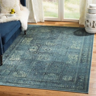 Safavieh Vintage Turquoise/ Multi Distressed Panels Silky Viscose Rug - 2' x 3'