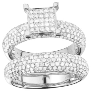 10k White Gold 1 5/8ct TDW Diamond 2-piece Ring Set