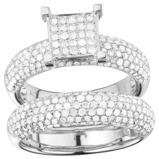 10k White Gold 1 5/8ct TDW Diamond 2-piece Ring Set