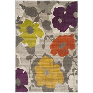 Safavieh Porcello Contemporary Floral Grey/ Yellow Rug (5'2 x 7'6)