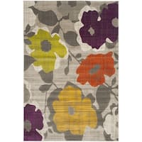 Safavieh Porcello Contemporary Floral Grey/ Yellow Rug - 5'2 x 7'6