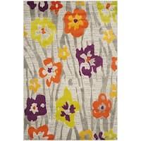 Safavieh Porcello Contemporary Floral Light Grey/ Purple Rug - 5'2 x 7'6
