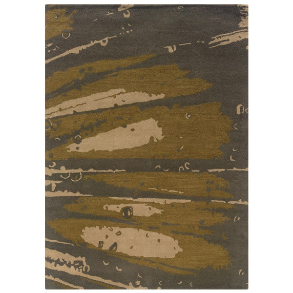 Linon Florence Slate and Olive Area Rug - 5' x 7'