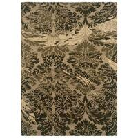 Linon Florence Taupe and Olive Area Rug (5' x 7') - 5' x 7'