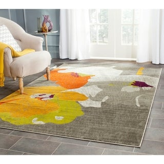 Safavieh Porcello Contemporary Floral Dark Grey/ Ivory Rug (5'2 x 7'6)