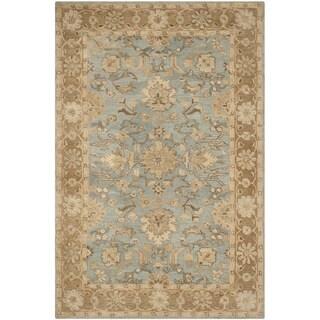 Safavieh Handmade Anatolia Oriental Light Blue/ Taupe Hand-spun Wool Rug (6' x 9')