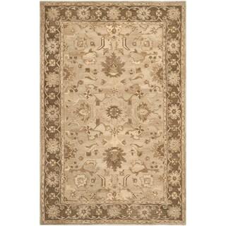 Safavieh Handmade Anatolia Oriental Light Grey/ Dark Brown Hand-spun Wool Rug (6' x 9')