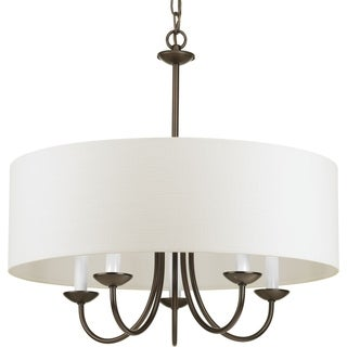 Copper Grove Norhatch 5-light Brown Chandelier with Linen Shade