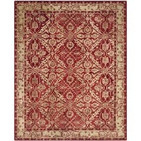 Safavieh Handmade Anatolia Oriental Red/ Ivory Hand-spun Wool Rug (6' x 9')