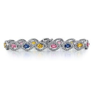 14k White Gold 1 4/5ct TDW Diamond and Multi-color Sapphire Bracelet (G-H, SI1-SI2)