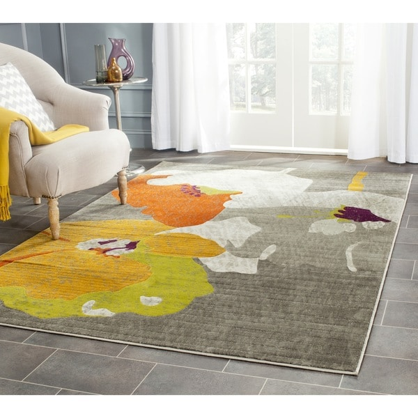 Safavieh Porcello Contemporary Floral Dark Grey Ivory Rug