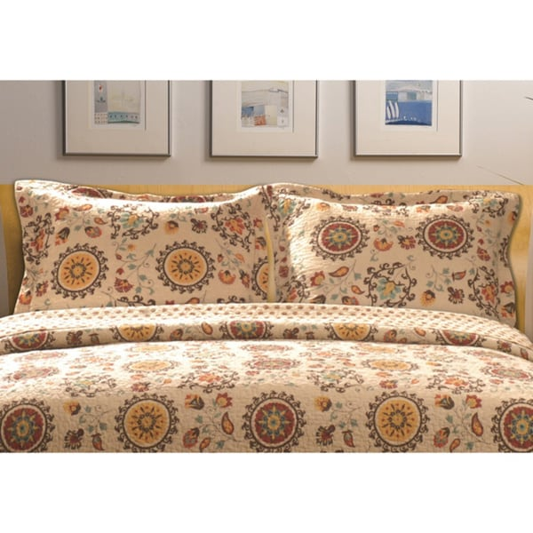 Greenland Home Fashions Andorra Suzani Multicolored Pillow Shams (Set of 2)