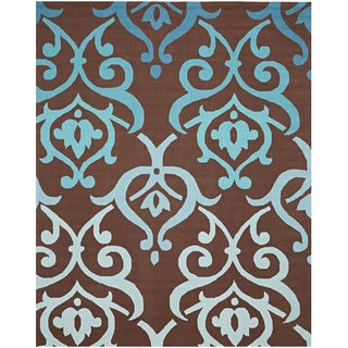 Cosette Brown and Blue Fleur-de-Lis Rug (8' x 10')
