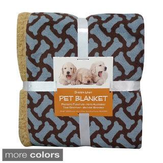 Bone Print Sherpa-backed Pet Blanket